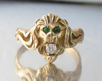 Antique ART NOUVEAU Lion Eating a Diamond Ring 10K Ring
