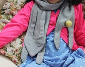 Rabbit hare scarf for kids and youth. Fall and winter warm scarf made from soft jersey. One size.