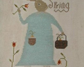 NOTFORGOTTEN FARM Ah, 'Tis Spring! counted cross stitch patterns bunny Easter basket Spring