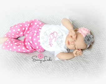 Baby Girl Clothes Newborn Girl Take Home Outfit Personalized Baby Girl Bodysuit with Pants Headband option 0-3 mon Girl  to 5T Baby Gift Set