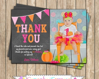 Pumpkin Patch One First Birthday girl orange pink green  PRINTABLE Thank You Card  #5 chevron polka dot  1st birthday halloween fall -1051