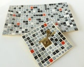 Mosaic Tile Ashtray and Tray Coffee Table Set Mid Century Modern Atomic Home Decor Black, White, Gray, Red