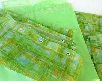 Shower Curtain Set, Window Panels and Tie Backs, and Vinyl Liner Green, Aqua, and Gold Brushstroke Plaid Sheers