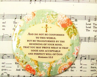Scripture Magnet - LARGE Magnet - Do Not be Conformed to this World Christian Magnet - Christian Magnet - Romans 12:2