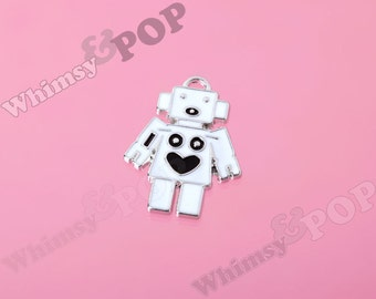 1 - Enamel White Robot Love Charm, Robot Charm, Silver Tone Robot Charm, Robot Pendant, 28mm x  22mm (R8-183)