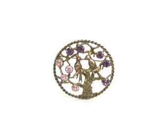 Love Birds Brooch.  Sterling Silver, Gold Vermeil, Rhinestones. Romantic Swallows. Vintage 1960s Retro Tree of Life Jewelry