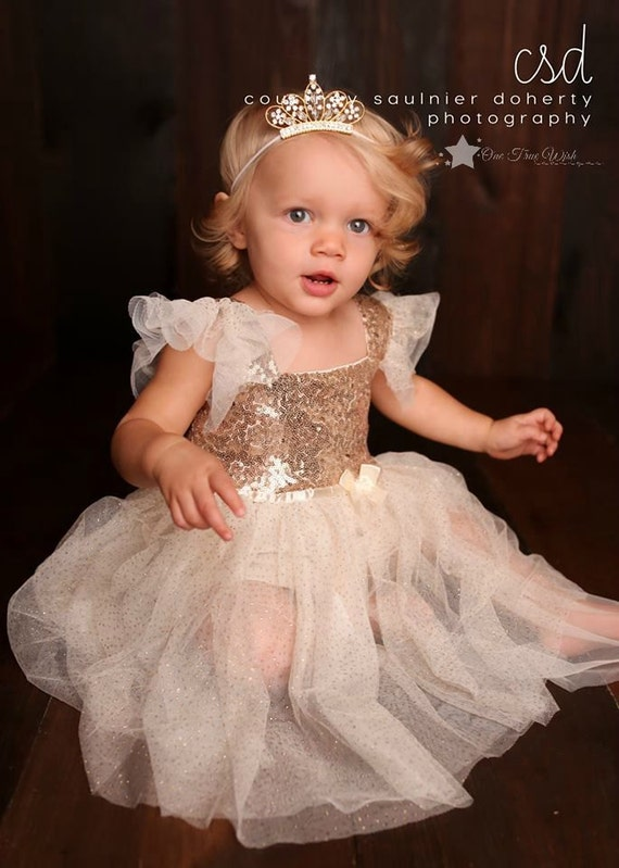 Baby Tiara Crown elastic headband, GOLD, princess tiara, birthday crown, flower girl