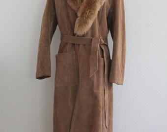 1980s Long Winter Coat Brown Suede Faux Fur Collar Bonwit Teller Belted Boho Chic Womens Vintage Medium
