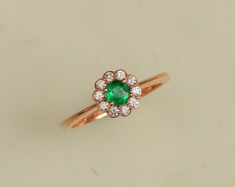 Emerald Vintage Style Ring Rose Gold May Birthstone Jewelry