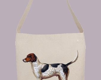 Vintage Foxhound Dog illustration - Hobo Sling Tote, 14.5x14x3, Crossbody Strap, Magnetic Closure, Inside pocket