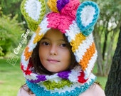 Rainbow Zebra Hood - PDF Crochet Pattern - 3 sizes ( Toddler, Child and Adult ) - Beanie Hat Hood Toddler Child Adult Accessorie