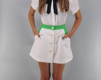 60s Mod A-Line Skirt, Vintage Tennis Skirt, Color-Block Skirt, 60s Micro-Mini Skirt, Button Front A-Line Skirt Δ size: md / lg