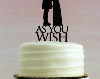 Princess Bride Wedding Cake Topper // As You Wish // Silhouette Wedding Cake Topper // Princess Buttercup and Westley