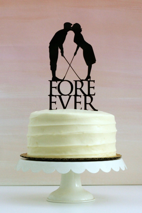 wedding cake toppers golf theme fore golf wedding cake topper with silhouettes made to 26482