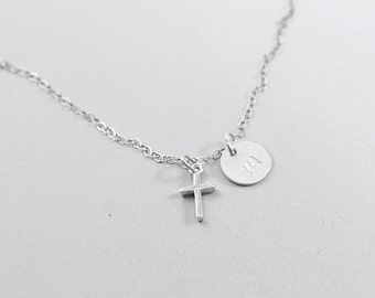Personalized religious necklace, engraved necklace with cross, sterling silver Christian necklace, tiny silver cross necklace, initial charm
