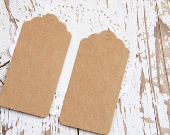 10 Etichette grandi di carta kraft - 10 Brown Kraft Gift Tags