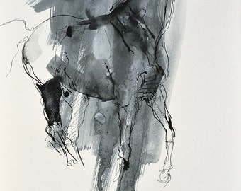Original Fine Art, Galloping Horse Black Ink Drawing, Equine Art, Contemporary Art, Modern Art