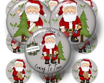 Santa, Digital Collage Sheets, 1 Inch Christmas, Bottle Cap Images, 1 Inch Circle, Santa Images, Printable Santa  Dear Santa, (2015-No.4)