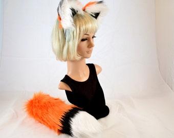 Adjustable Orange Fox Ears Headband and Tail Combo