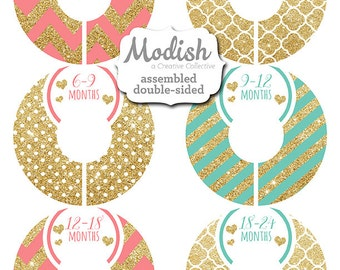 Closet Dividers, Assembled, Baby Closet Dividers, Closet Organizer, Girl, Gold Glitter, Pink, Coral, Teal, Mint, Chevron, Baby Gift, Nursery