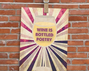 Wine Is Bottled Poetry - Card - Blank Inside