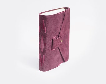 Leather suede journal. Sketchbook - Wine red, marsala, large, A5, handmade leather notebook with pocket
