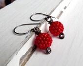 Scarlet Berries - handmade earrings, red earrings, handwoven earrings, berry earrings, bead earrings, petite earrings, berry jewellery