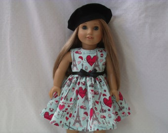 18 Inch Doll-American Girl Dress: Je t'adore Paris dress for Grace with or without beret