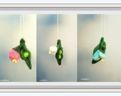 Peas in the pod needle felted ornament, pregnancy gift, ornament for mom, child loss gift, sympathy gift, felt peas, pick colors, and amount
