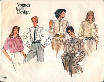 Classic Vintage 1980s Vogue Basic Design 1081 Blouse in 5 Versions Sewing Pattern B42