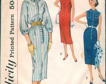 Nice Vintage 1950s Simplicity 2341 Simple-To-Make Slim Straight Shirtwaist Dress Sewing Pattern B33