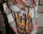 Plaid Tartan Blanket Scarf Orange Brown Plaid Scarf Christmas Gift Scarves Zara Style Plaid 2014 Bloggers Favorite-Sale-Monogramming Avail