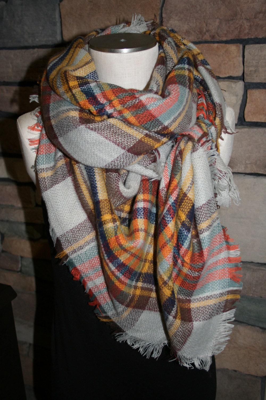 plaid tartan blanket scarf orange brown plaid scarf christmas. Black Bedroom Furniture Sets. Home Design Ideas