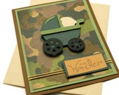 New Baby Cards - Its A Boy - Camo Baby Card - Camouflage Cards - Baby Shower Gift - Welcome Baby - Greetings Card - Stampin Up Cards