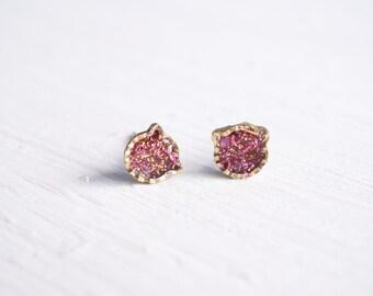Pink Glitter Cat Stud Earrings