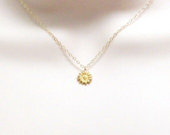 Sunflower Necklace, Tiny Flower Necklace, Dainy Necklace, Small Charm, Simple Nature Necklace, Gold, Rose Gold or Sterling Silver, Women