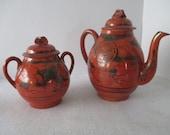 Teapot and Sugar, Asian, Vintage, Porcelain, Red Orange, Silver Overlay, Dragons, Kanji, Tea Service Ceremony, Pinch Lid Tea Pot