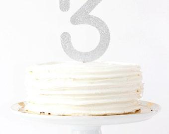 Silver Glitter Cake Topper 3rd Birthday Party Decorations Number Age Cake Topper Silver Glitter Party Supplies Third Birthday Smash Cake