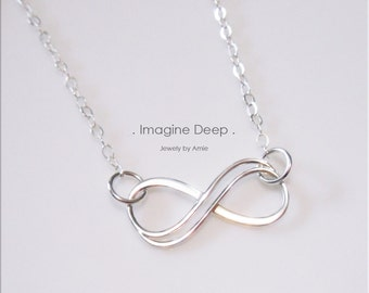 Sterling Silver Infinity Necklace - 18 inch High Quality Sterling Silver - Simply Beautiful - also in 16 inch and 20 inch lengths
