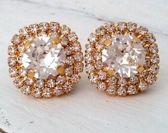 Bridal crystal stud earrings, Clear crystal large stud earrings, Gold or Silver, Bridesmaids jewelry, Weddings, Swarovski Crystal earrings