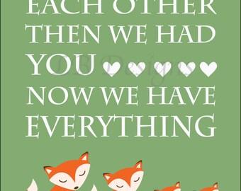 Woodland Nursery Decor, Fox Nursery Decor, Woodland Bedroom Print, Orange Fox Decor, Fox Family, Twin Nursery Decor, Gift For New Baby 8x10