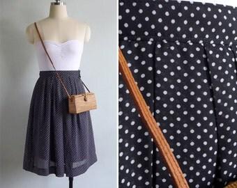 15% SALE (Code In Shop) - Vintage 80's Polka Dot Black & White Pleated Skirt XXS W23