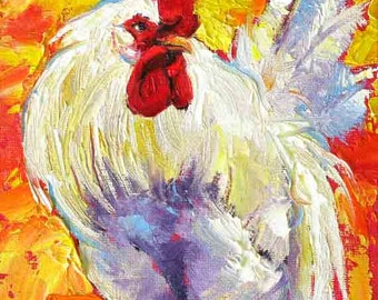 Rooster Painting, Rooster Wall Art, Chicken Print, White Rooster Print, Chicken Print from Original Painting, 5 x 7 by Jemmas Gems
