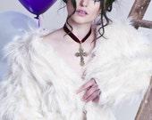 Velvet cross choker necklace