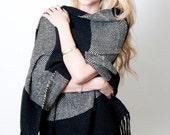 Black Pashmina Shawl - Handwoven Geometric Stripes Check Black & White Soft Merino  Wool Scarf Shrug Wrap
