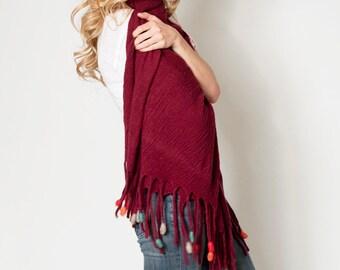 Fringe Women knit Wrap shawl, Marsala Oversized scarf, Large pom pom edged scarves, Merino wool Felt Fringes colorful tassels, 38 x 74