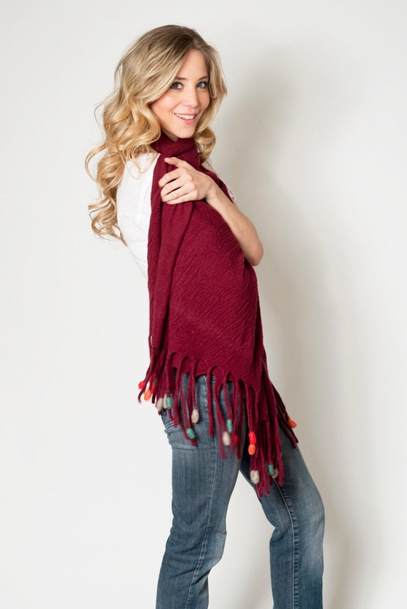 Fringe Women knit Wrap shawl, Marsala Oversized scarf, Large pom pom edged scarves, Merino wool Felt Fringes colorful tassels, 38 x 74