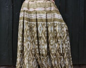 XL/XXL Sari Pantaloons- 4 Yard Vintage Sage Green, Peach & Gray Ikat Silk Plus Size Wide Bellydance Pants