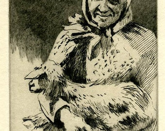 Antique Signed Etching by A. Hugh Fisher - Old Woman and Goat - Black and White Vintage Portrait Print - Woman Farmer - Rustic Decor Artwork