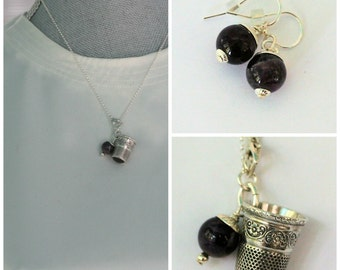 Peter Pan Acorn and Thimble Kisses Necklace and Earrings SET In Solid Sterling Silver and Natural Amethyst
